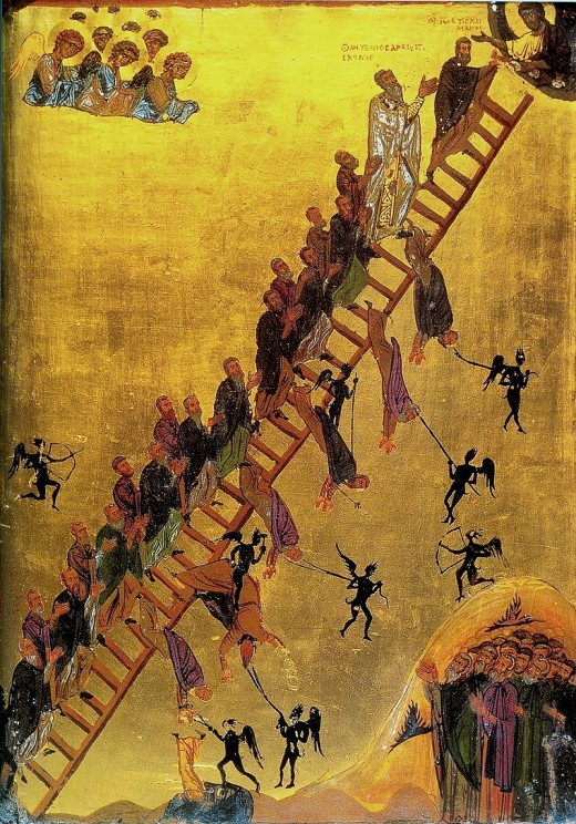 12th century - The monks are tempted by demons and encouraged by angels, while Christ welcomes them at the summit.