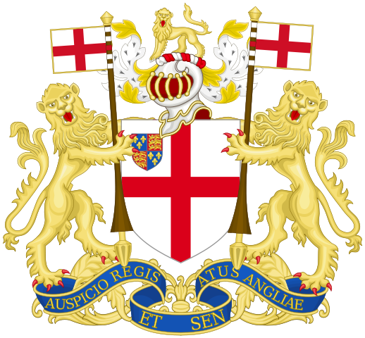 The later coat of arms of the East India Company