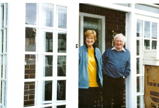Mary and Eddy Stone at the door of their house in Marston Green, Birmingham. Photograph courtesy of Helen Stone.