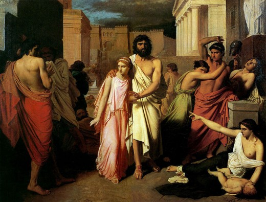 Oedipus and Antigone -  	 Charles Jalabert (1819–1901)  - PD-art-100
