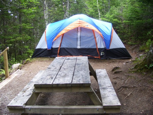 Tent site at Lockston Path Provincial Park.