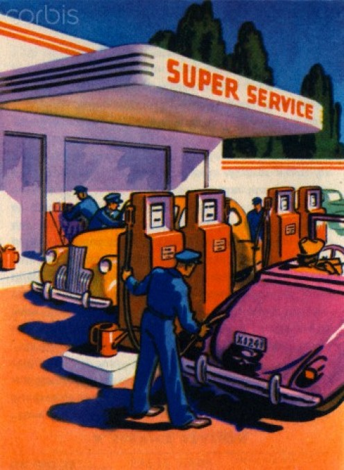 Vintage cartoon ad shows the simplicity of a gas station attendant's work.
