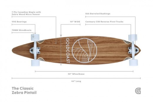 A pintail longboard.