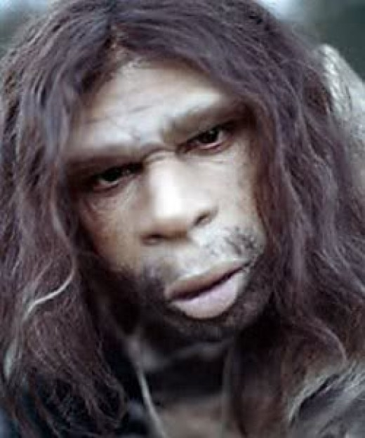 Image of Neanderthal man:  That many men still seem like today when it comes to work or football or their attitude to women and kids and what a man's role should be.