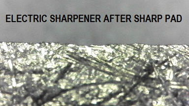 Electric sharpener edge after burr removal