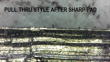 Same ceramic wheel sharpener edge after burr removal