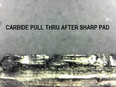 Same Carbide sharpener edge pictured above after de-burring