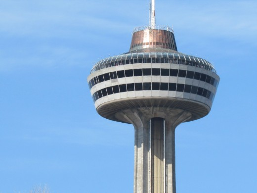 Skylon, rotates giving tourists a view of the Falls and city of Ontario.