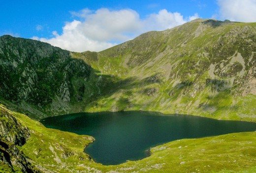 A closer look at Cadair Idris, 'Idris' Seat' with the saddle above a mountaintop tarn (along with 'col', a Celtic word that's crept into the English language).