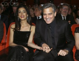 Amal and George Clooney  at Hail Caesar opening.
