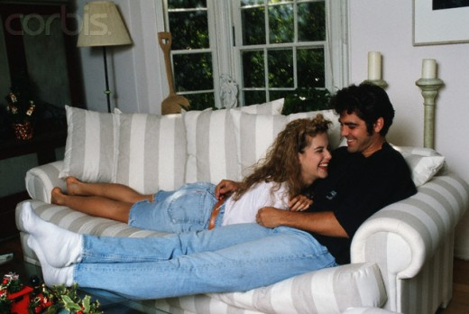 Kelly Preston and  George on couch.  Photo shot Dec. 1, 1988.