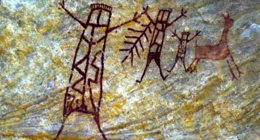 Image provided by the Museum of the American Man Foundation shows cave art in a cavern