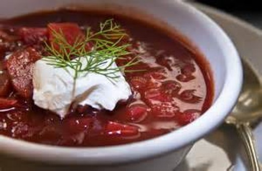 Borsch soup with sour cream and dill