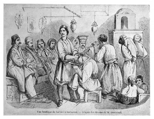 Barbershop in Bucharest around 1842