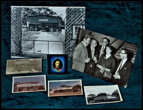 In the photo shown from the left are Rod Taylor, Brian's father Harold Riley, the then CEO of Hoyts distributors, Brian's mother Elsie Riley, and the then CEO of Chas E Banks promotion and advertising.