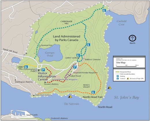 Parks Canada Map of the Signal Hill Trails.