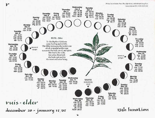 A lunar month from the Lunar press calendar 2006