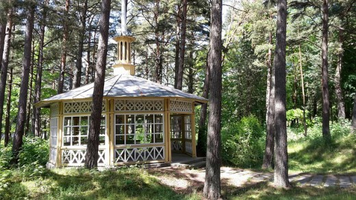 A gazebo in a wooded area for a quiet get-a-way.