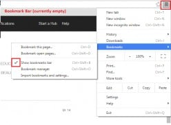 Google Chrome: How to make Bookmark Bar visible