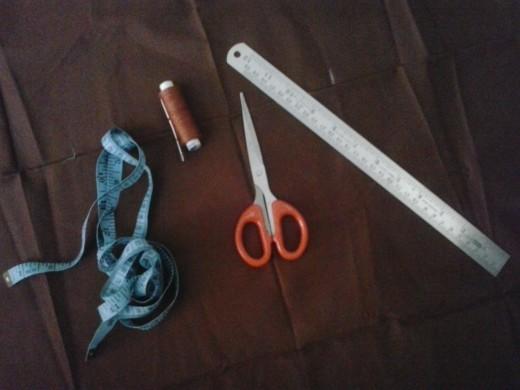 1 metre Blouse piece,Measuring tape,Scissors,Scale,Needle and Thread