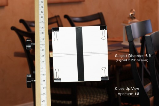 Depth of Field Measurement for 50mm Lens, Full Frame Sensor, Subject Distance 6 Feet, Aperture:  f8   (close up)