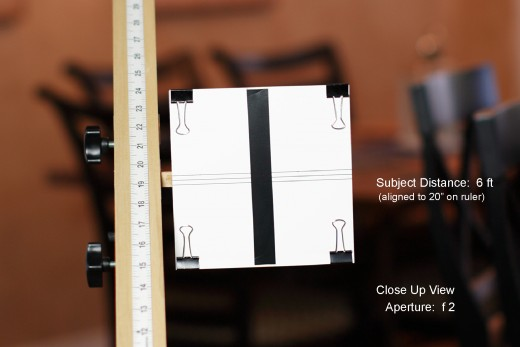 Depth of Field Measurement for 50mm Lens, Full Frame Sensor, Subject Distance 6 Feet, Aperture:  f2   (close up)