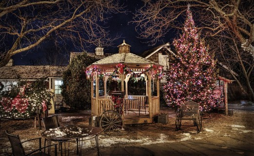 A front yard gazebo decorated for the Christmas holiday.