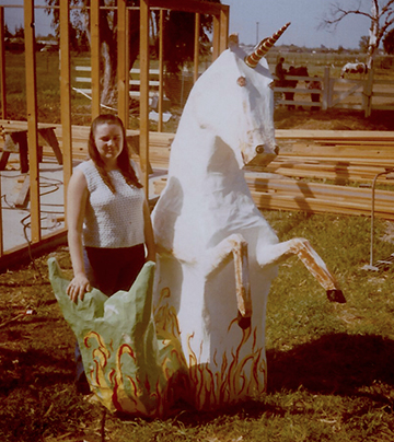 Me with my famous paper mache Capricorn.  I made this in high school in the 70's.