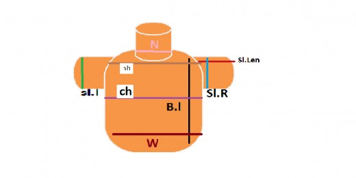 Here you can find the different measurements labelled with coloured lines and short forms.