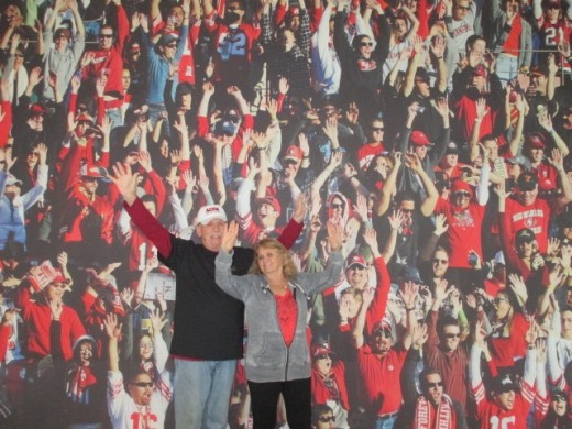 Dad and Elaine joining in The Wave
