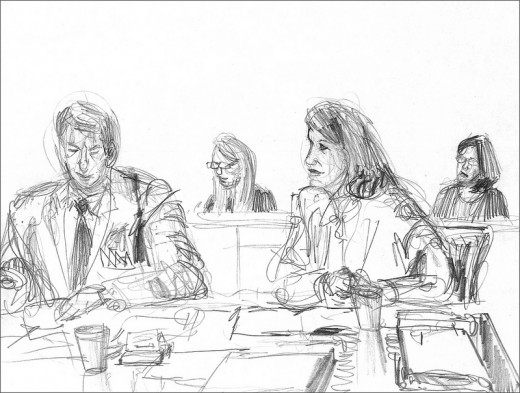 The sketch artist is the true storyteller in the courtroom.