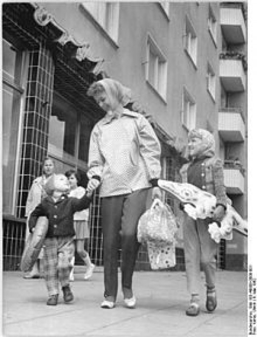 A mother with children in Berlin, Germany, 1962
