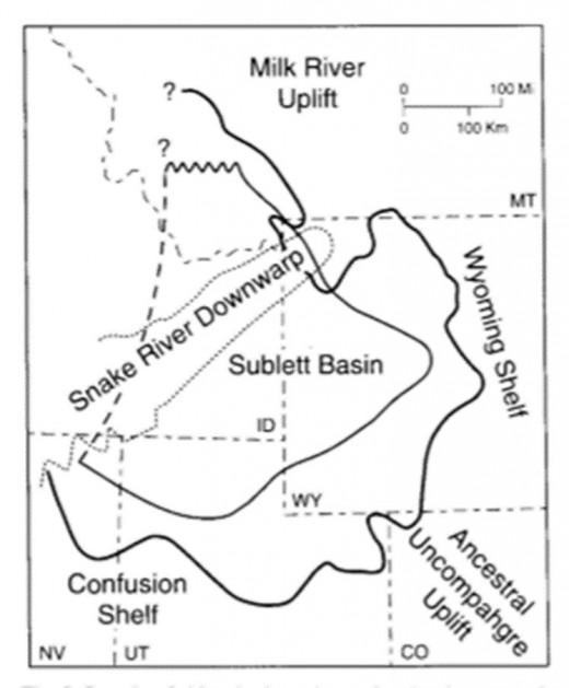 Figure 3 - The shape and size of the Dinwoody Formation as it stretches across four states(Bucher 2013).