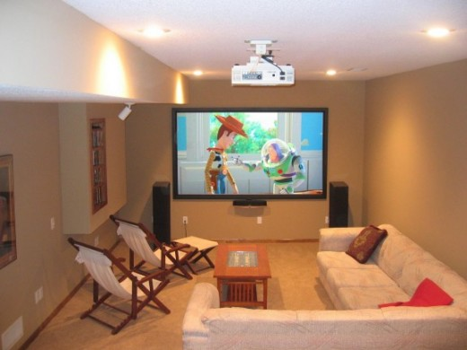 Here is a comfortable (and realistic) home theater that you could establish on a tight budget (providing for Blu-Ray Player, Amplifier, Speakers, Projector, Screen and Cabling).