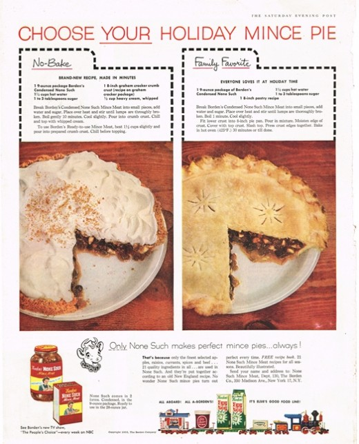 1955 Bordon Ad with Mince Meat Pie Recipe
