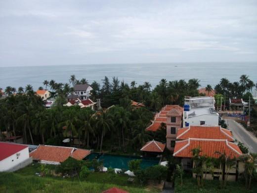 A scenic view toward the sea