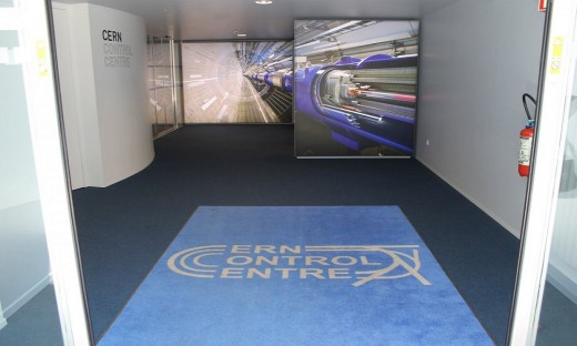 The control center is the most important place of CERN. Right at the gate there is a large billboard panels reminded about a giant Accelerator LHC below ground.