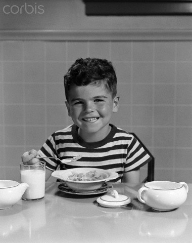 A TV commercial about breakf ast cereal in the 1940s and  50s, might feature a kids like this to make children beg their parents to buy their cereal.