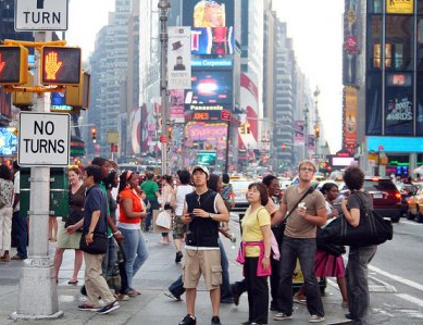 Tourists at Times Square, New York City