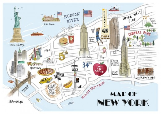 Map of New York with Attractions