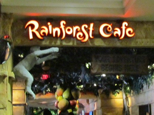 For the young and old at heart was this fascinating eatery called Rainforest Café, also located in the lobby area of the Sheraton Hotel. It is decorated with large trees, monkeys, birds and various animals. This fun café brought joy to many chi