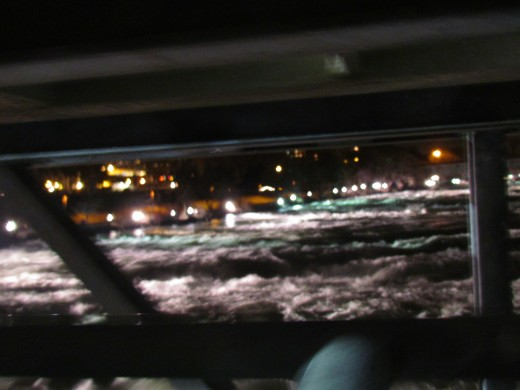 A photo of the rapid water that flows in front of the restaurant.