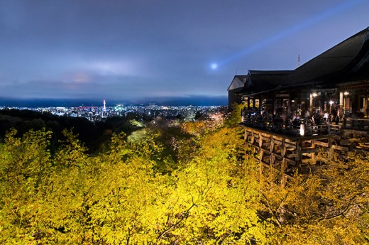 The world famous wooden platform of Kiyomizu Temple, with Kyoto city in the background.
