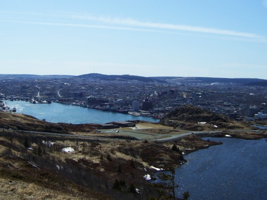 View of the city looking toward St. John's Harbour from Ladies Lookout.