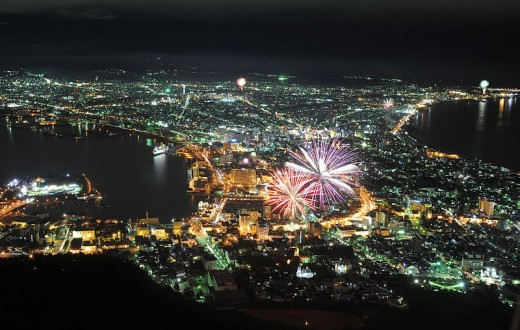 Hakodate's famous night view, with fireworks.