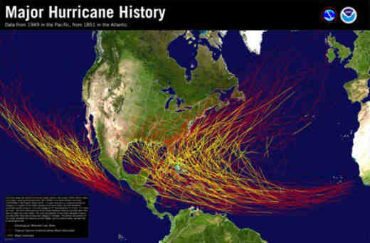 This charts shows the history of category 3 or higher hurricanes in the North Atlantic and Eastern North Pacific.