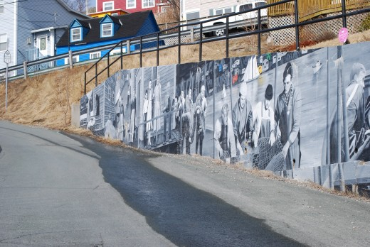 Mural painted on a retaining wall at the top of Outer Battery Road depicting fishing life in the Battery.