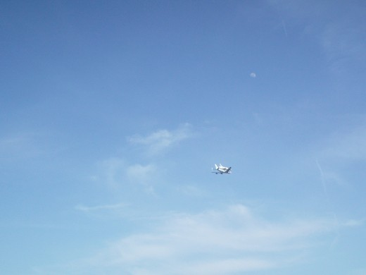 The Space Shuttle flew by on its way back to Cape Canaveral from Houston!