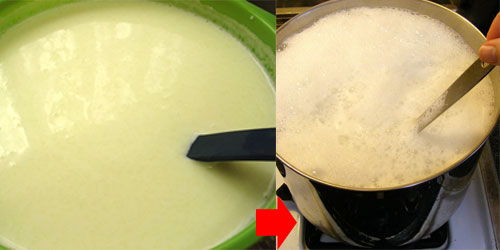 Step 1: Open cans of condensed milk, pour into a brass cooking to. Continue to pour fresh milk into then stir.