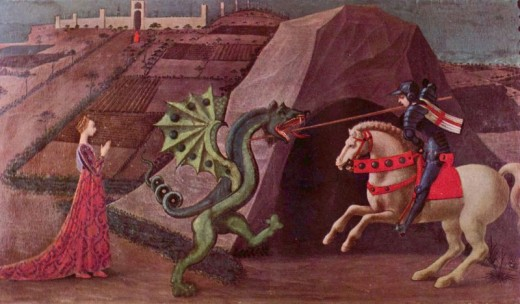 Saint George slaying the dragon, as depicted by Paolo Uccello, c. 1470